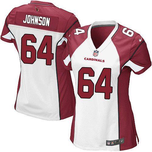 $24.99 Women's Nike Arizona Cardinals #64 Dorian Johnson Limited White NFL Jersey