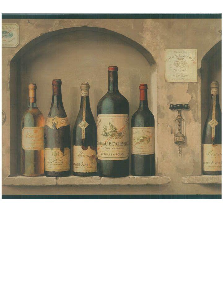 Wine Bottles In A Rustic Kitchen Wallpaper Border NV9652B