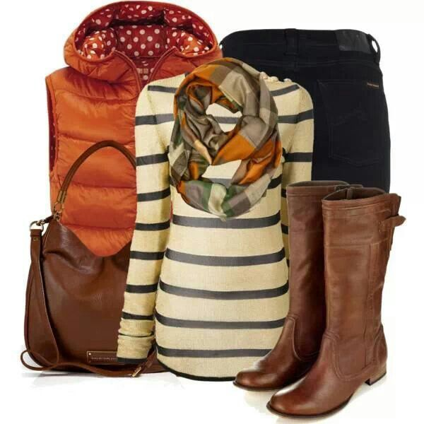 winter outfit - Love the orange vest (I have one in purple) paired with stripes and denim.