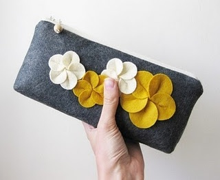 gunmetal, off white, and mustard yellow tweed clutch