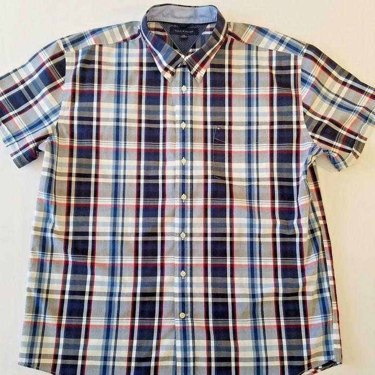 TOMMY HILFIGER  Mens Blue Plaid Shirt Size 2XL Cotton Button Down Short Sleeve #TommyHilfiger #ButtonFront