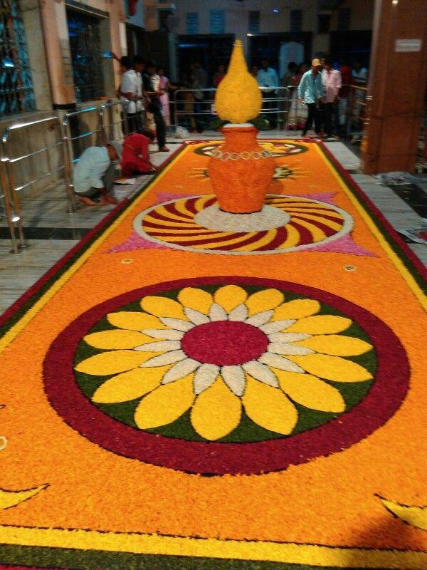 Flower Rangoli in a temple at Mahad, Maharashtra, India.