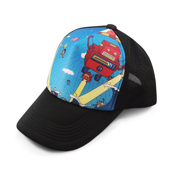 """This colorful snap-back trucker hat depicts a cast of mechanical characters that like to party like it's Robot 99. But at this party, they only have one dance: The Robot.""  Fudesign Store ROBOT 99 Adjustable Trucker Hat by Fudesign on Etsy, $23.99"