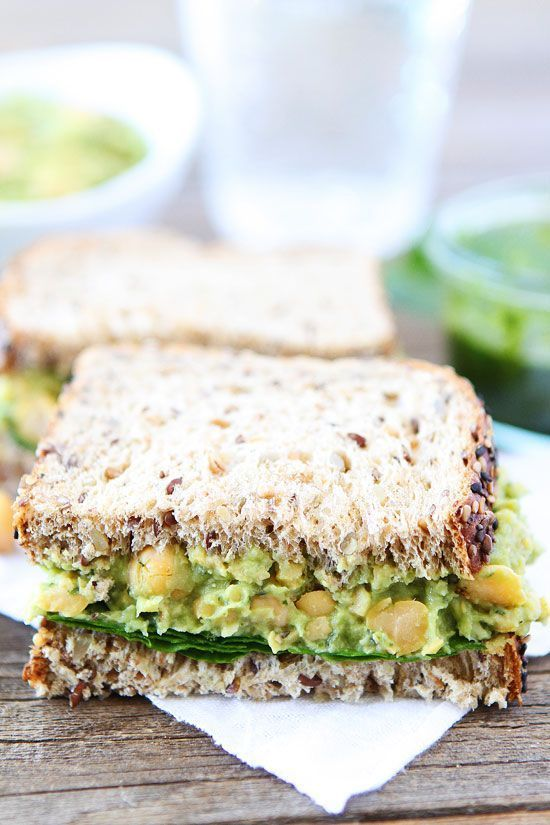 Smashed Chickpea Avocado and Pesto Salad Sandwich