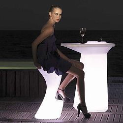 Moma Illuminated Outdoor Bar Table and Stools  With the contemporary Moma outdoor bar table and stools you have the added decorative effect of being able to choose one of seven different LED colors for illumination.    By using the included remote control you can select white, red, green, blue, light blue, pink or yellow. The finish is white when not lighted.