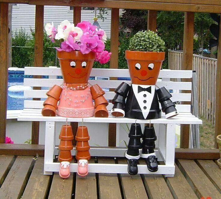 Bonhomme Pot De Fleur Pour D 233 Corer L Entr 233 E Wedding Pinterest Clay Clay Pot People