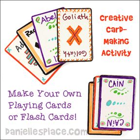 Children make their own Bible Games using blank playing cards from www.daniellesplace.com