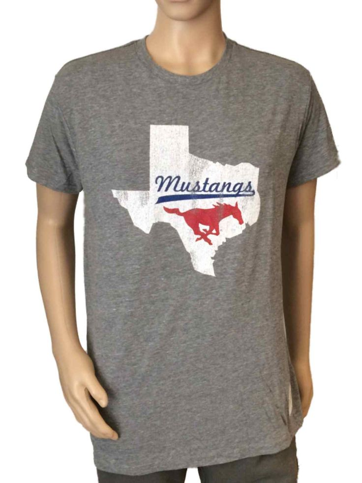 Made and Designed by Original Retro Brand. Screen Printed on the front is a  SMU Mustangs logo. Top Quality Tri-Blend Vintage Style Short Sleeve T-Shirt.