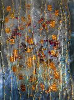 Hint of Klimt ~Angela's Textile Art~ Like the look of the lines with french knots maybe.