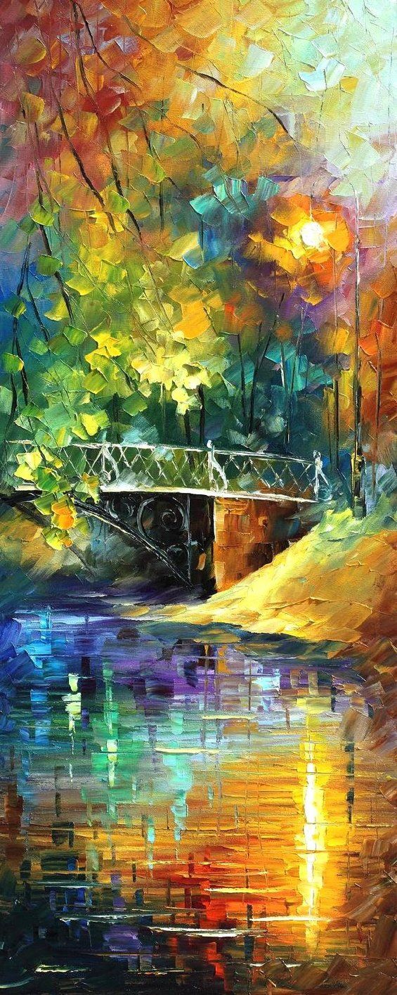 Aura of Autumn by artist Leonid Afremov: Oil Paintings, Palettes Knifes, Leonidafremov, The Artists, Auras, Rainbows Bridges, Color, Brushes Strokes, Leonid Afremov