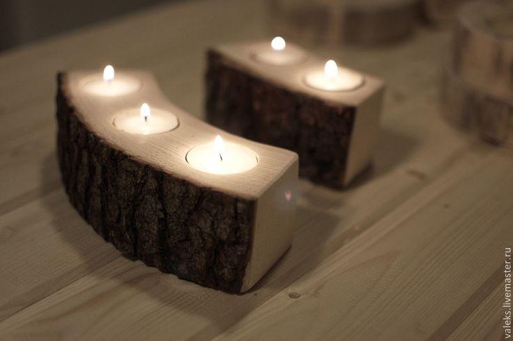 Купить Подсвечники из срезов/спилов/полукругов - подсвечник, подсвечник из дерева, декор для интерьера, декоративные элементы, деревянный подсвечник