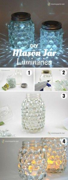 Glass Jewel DIY Mason Jar Luminaries