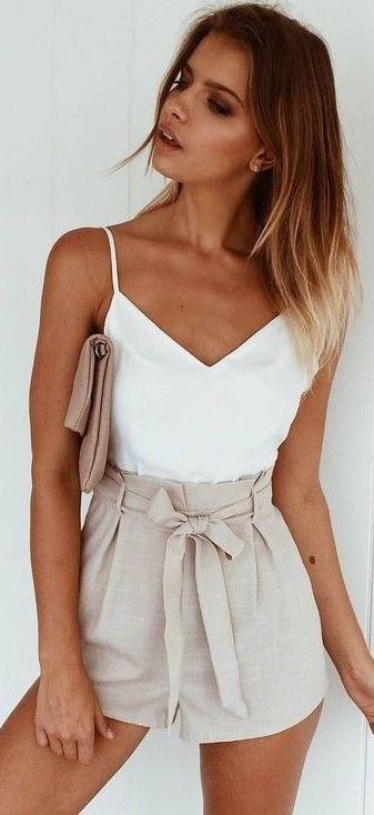 #summer #muraboutique #outfitideas   White Top + Stone Shorts