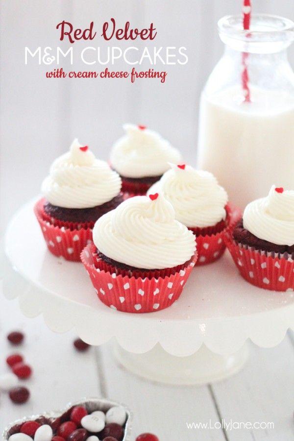 Red Velvet Cupcakes with Red Velvet M&M bits inside