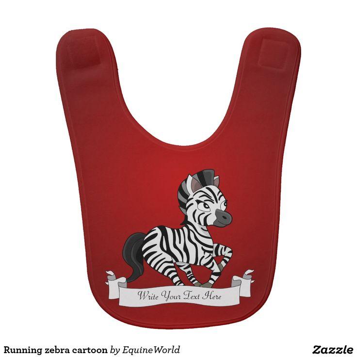 Running zebra cartoon baby bib