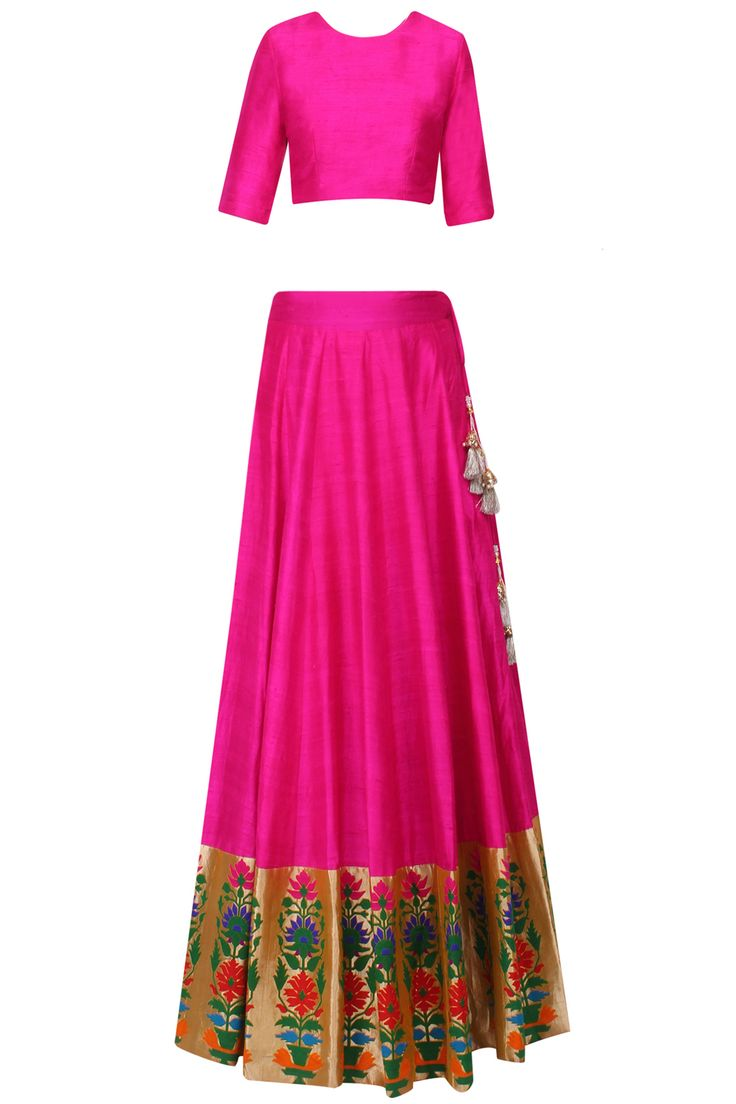 Hot pink floral embroidered crochet work lehenga set available only at Pernia's Pop Up Shop.