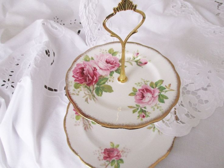 Vintage english pink rose 2 tier tea stand, Royal Albert American Beauty afternoon stand,  english high tea accessory, excellent condition by EnglishGardenTeaShop on Etsy