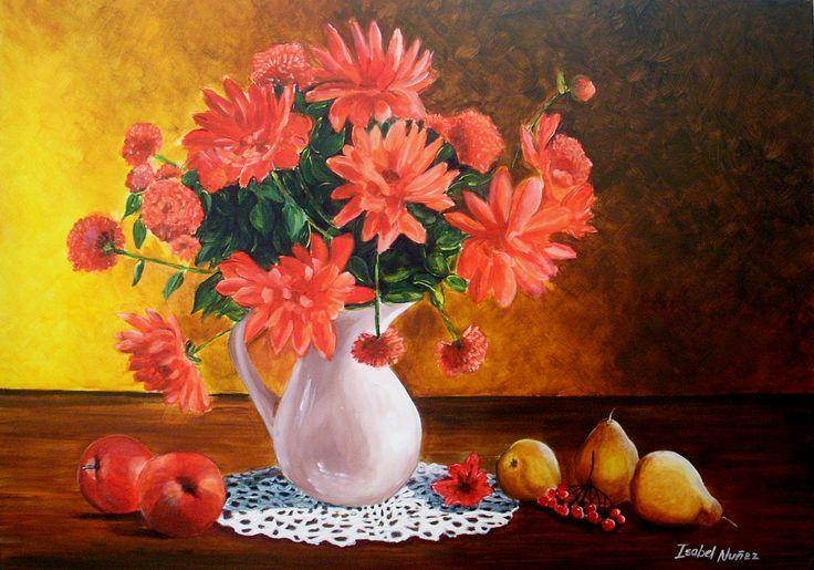 Isabel Nuñez Acrílico ORIGINAL 70x50 cms Bodegón Flores y frutas (pintura original, inspirada en fotografía)