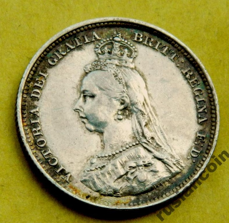 Шиллинг Англия Виктория 1887 юбилейная СЕРЕБРО Shilling Victoria