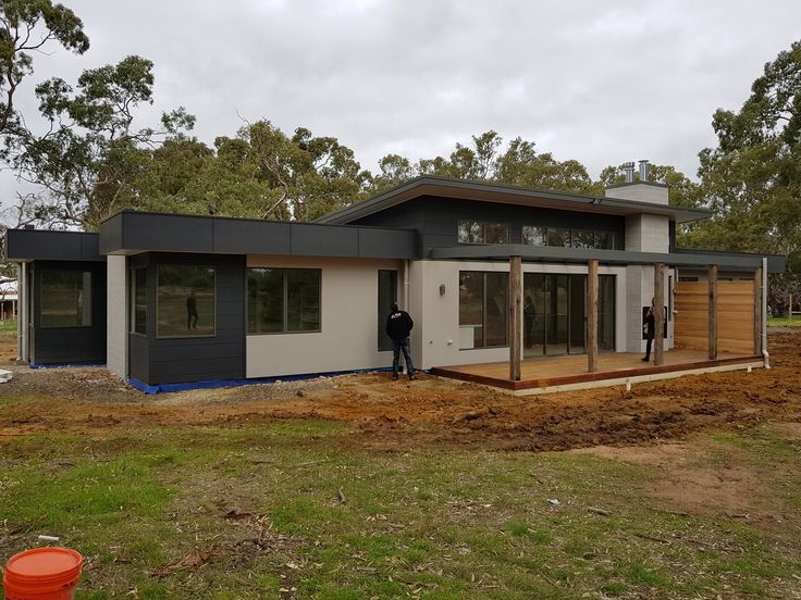 During Construction - Inverleigh External - Northern Deck with outdoor fireplace