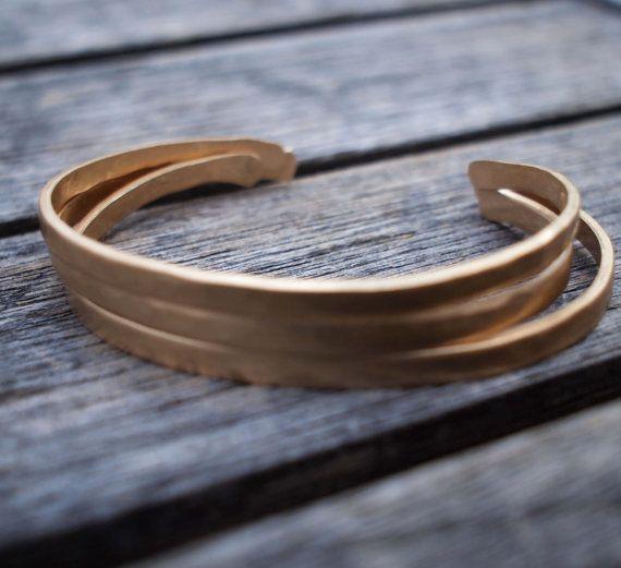 Hammered Bronze Bracelet Set / 8th Anniversary by madredeolivia