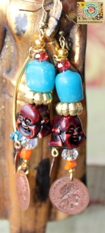 Buddha oorbellen met blauwe Amber, goud en koperen munten - Gypsy sieraden-Afrikaanse sieraden-Statement sieraden door DazzlingGypsyQueen op Etsy https://www.etsy.com/nl/listing/114804023/buddha-oorbellen-met-blauwe-amber-goud