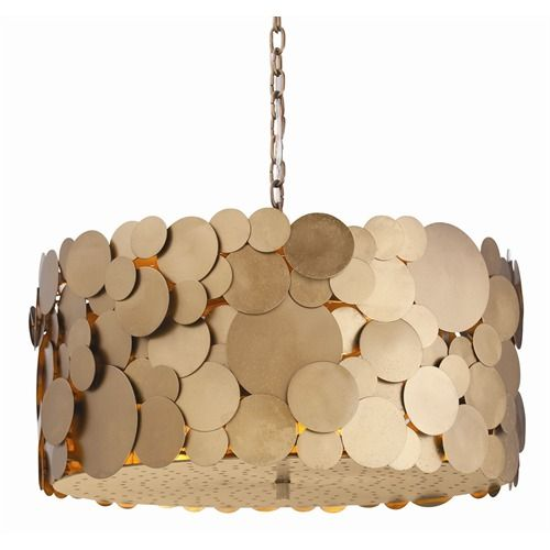 We LOVE this Arteriors Iron Disc Chandelier over a dining table.