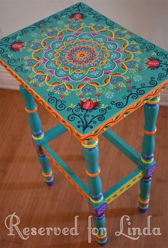 Made to order. Sold. This is an example. Hand-painted furniture, boho style. Painted furniture