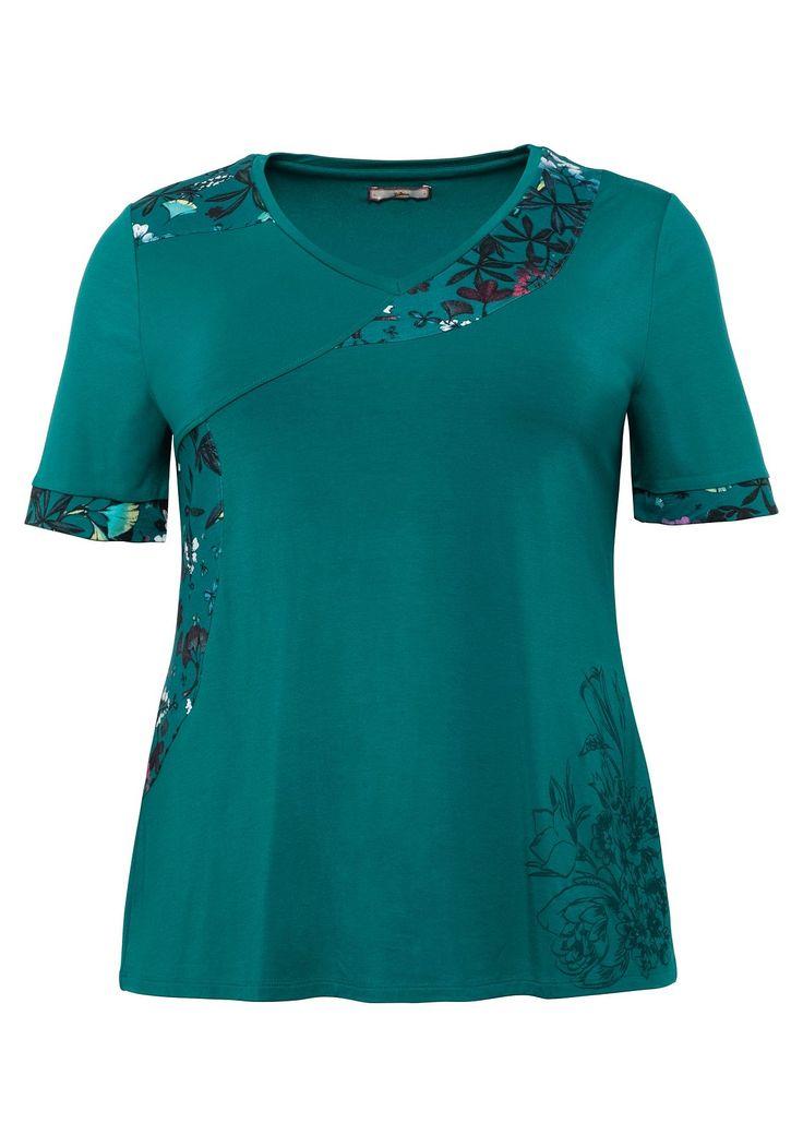kurzarmshirt mit bedruckten kontrasteinsaetzen smaragd sheego