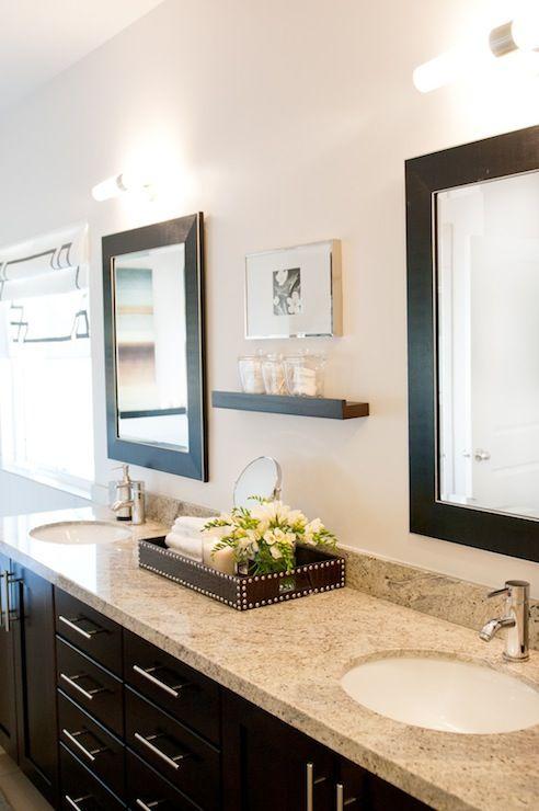 Add a shelf between mirrors to store cotton balls, q-tips, etc.