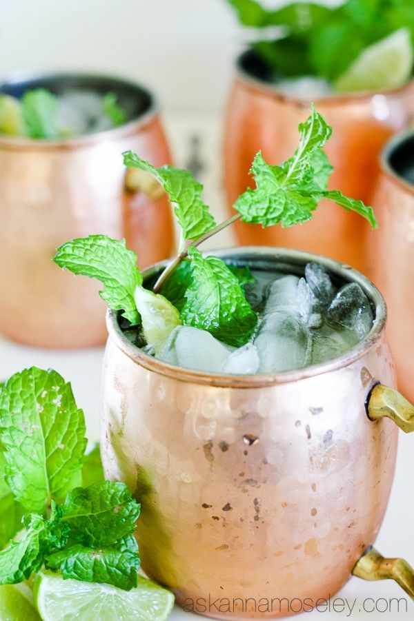 The BEST Moscow Mule Recipe.  Ingredients      2 oz Vodka     1/2 oz Freshly squeezed lime juice     5 oz Ginger beer     Mint and lime for garnish