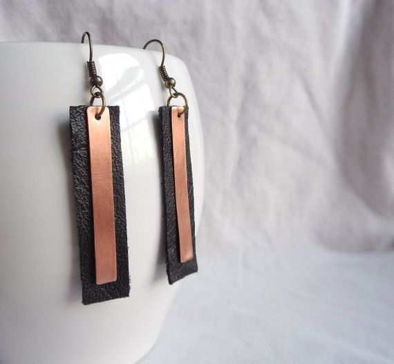 Copper & Leather Earrings: mixed media - metal and fabric