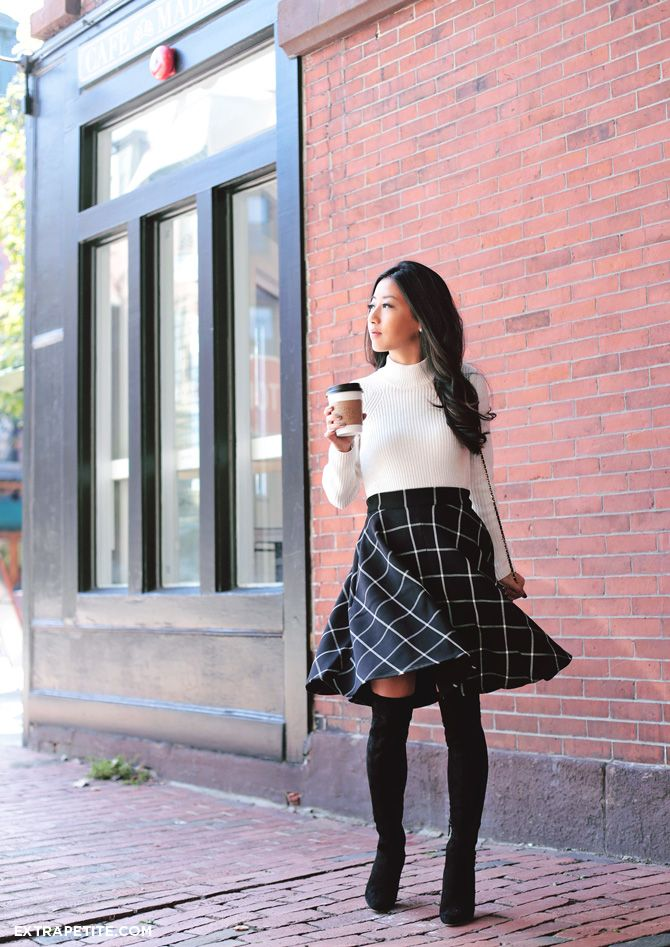 Paris style fall outfit - plaid macys circle skirt, over the knee cole haan boots, maison jules turtleneck sweater