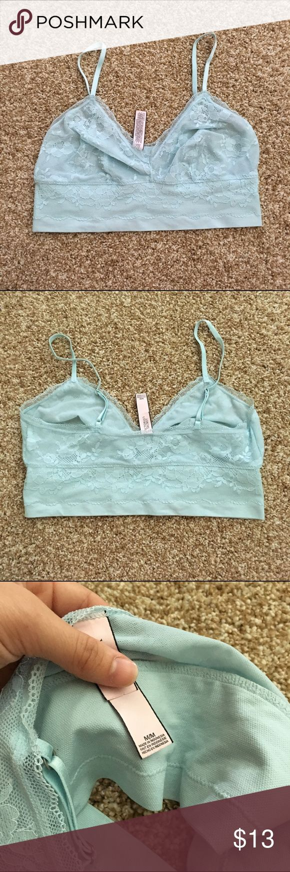 EUC M VS Lace bralette Size M. No flaws. Just too big on me! Nice blue color Make sure to check out all of my other VS listings if you'd like to bundle! Any questions just ask! Multiple items get big discounts! PLEASE NO LOWEST! Smoke free but pet friendly! (There might be some stray cat hair even though I always lint roll before sending things out!) Check out my closet for more great/cheap items! :) Victoria's Secret Intimates & Sleepwear Bras
