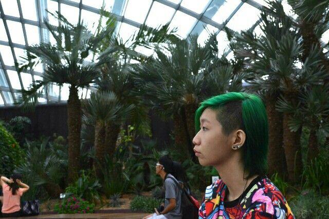 Sidecut green hair girl at flower dome