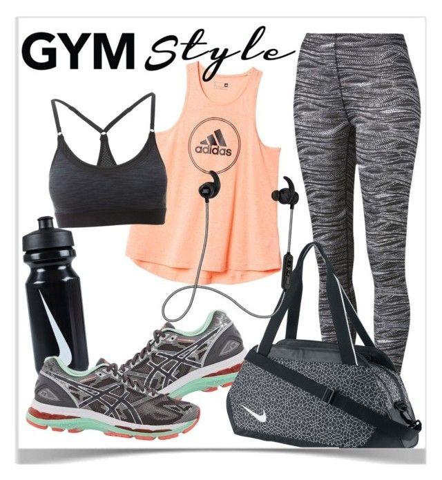 """Gym"" by fashion-film-fun ❤ liked on Polyvore featuring adidas, Puma, Asics, Manduka, NIKE and JBL"