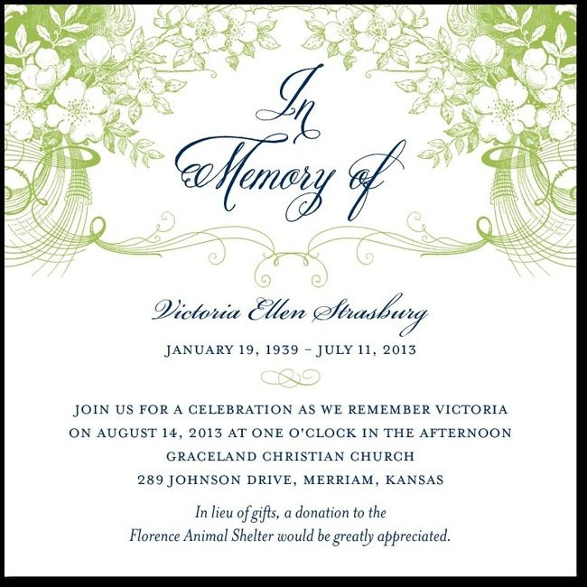 24 best Memorial Announcements images on Pinterest Texts - memorial service invitation wording
