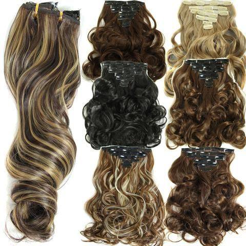 160g 7pcs Set Clips In Hair Extension Long Curly Fake Pieces 16 Clip False Extensions Multicolor Cheap Hairpiece