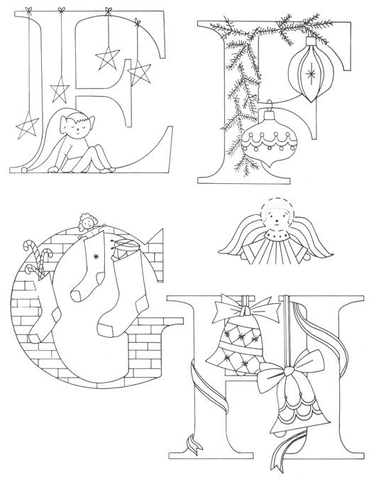 Christmas Alphabet to enhance your Christmas embroideries and quilts - Cotton Arts Boutique