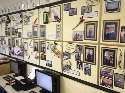 ABC Does post on display - each child in the class has their own square with their photo and a photo of their family.  The rest is added as they go along.