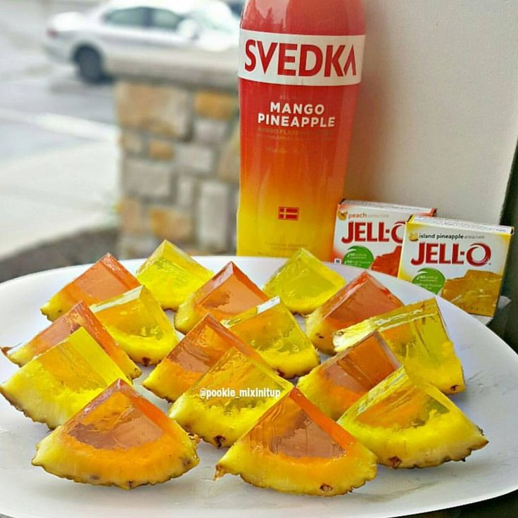 """920 Likes, 62 Comments - Pookie_MixinItUp (@pookie_mixinitup) on Instagram: """"Pineapple Jello Shots  Peach Jello, Island Pineapple, 1 Cup of Hot water & 1 cup of Svedka…"""""""