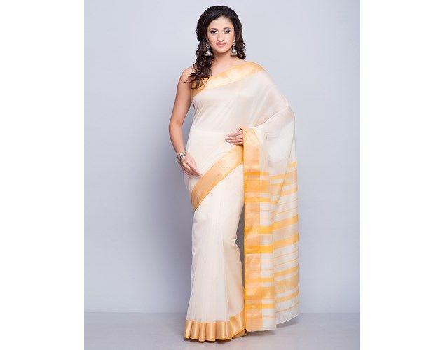 Buy Fabindia Natural Silk Cotton Maheshwari Stripe Palla Sari online - Fabindia.com