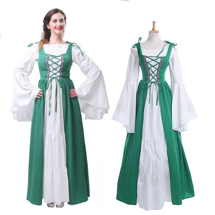 Renaissance Medieval Irish Costume Over Dress & Boho Chemise Set Halloween Dress #Rolecos #CompleteOutfit