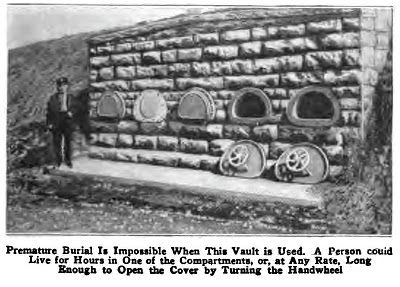 """Safety Coffins: During the 18th century, during a cholera epidemic, it was discovered that approx 2% of people buried were actually still alive. Several types of """"safety coffins"""" became all the rage. Some had bells on the surface that could be rung from inside the coffin, others had windows, and some tombs, like the one pictured, were just easy to open (from the inside.)"""