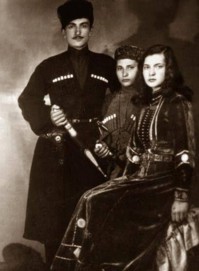 A circassian family...Gnrl. İsmail Berkok, oğlu ve kızı.
