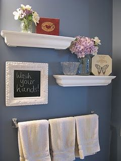 half bath ideachalk board with a wash your hands reminder floating shelves bathroomhalf bathroom decorhalf - Bathroom Decorating Ideas Blue Walls