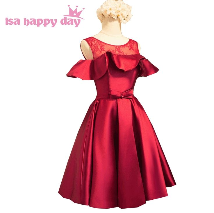 womans satin elegant satin bridesmaid dress short dresse ladies knee length dinner party dresses with cap sleeves B3967