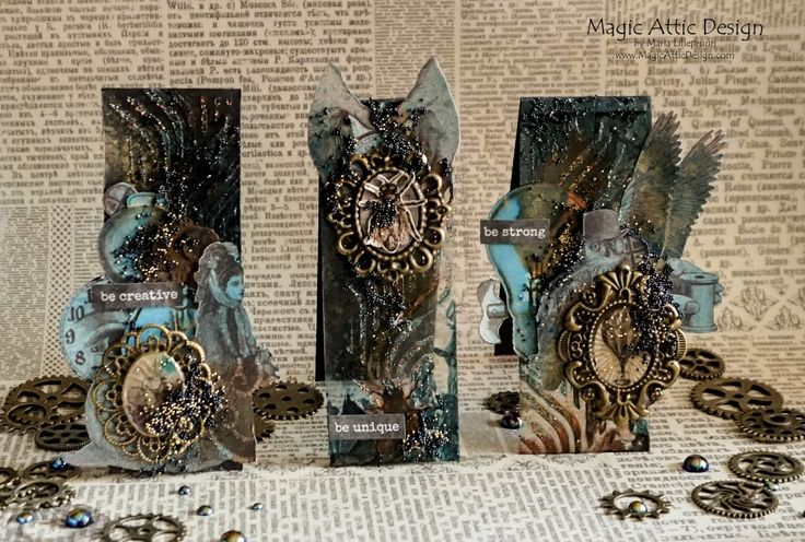 Mixed media steampunk scraplings by Maria Lillepruun