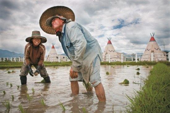 리터칭   티피 그리고 벼농사 #1(Tepees and Rice #1)  이 이미지는 스쿠터를 타고 논길을 지나다가 포착했다. 태국 북부에는 북아메리카 인디언들의 원뿔형 천막을 연상케 하는 티피(tepee)들이 늘어서 있는데, 나는 그냥 지나칠 수가 없었다. 무릎까지 올라오는 논에 발을 담근 채 일하고 있는 두 사람을 촬영하였다. 여기서 촬영한 몇 장면은 두 가지 버전으로 보정했다. 하나는 컬러 버전이고, 또 하나는 듀오 톤 버전이다.