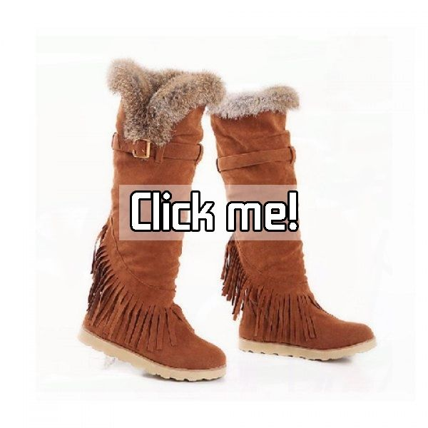 Casual Solid Color Artificial Fur Tassels Belt Design Women's Knee Boots    Price: $31.95.